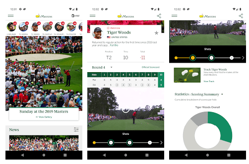 Masters Golf Tournament screens